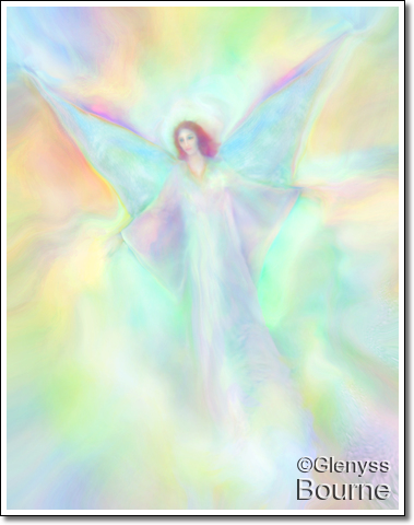 Archangel Ambriel in Flight painting