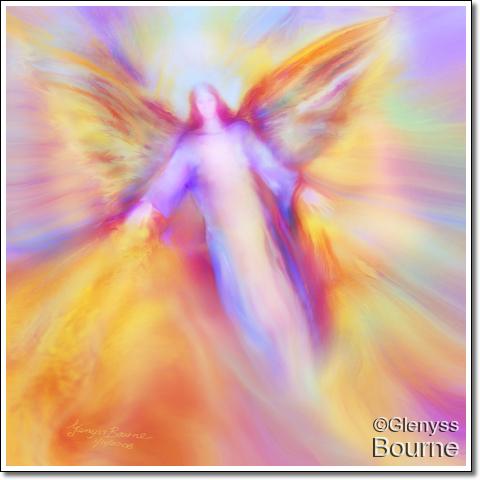 Archangel Uriel in Flight painting
